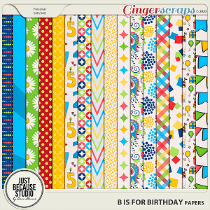 B is For Birthday Papers by JB Studio