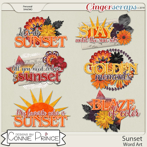 Sunset - Word Art Pack by Connie Prince
