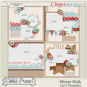 Winter Walk - 12x12 Templates (CU Ok) by Connie Prince