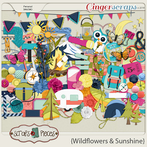 Wildflowers and Sunshine embellishments by Scraps N Pieces