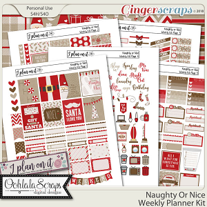 Naughty Or Nice Planner Stickers Weekly Kit