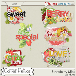 Strawberry Mint - Word Art Pack by Connie Prince
