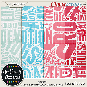 Sea of Love EXTRA PAPERS by Heather Z Scraps
