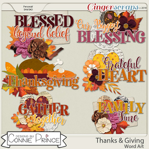 Thanks & Giving - Word Art Pack by Connie Prince
