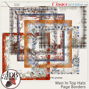 Men in Top Hats Page Borders by ADB Designs