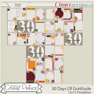 30 Days Of Gratitude - 12x12 Temps by Connie Prince