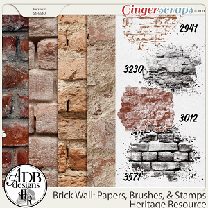 Heritage Resource Brick Wall: Papers, Brushes & Stamps by ADB Designs