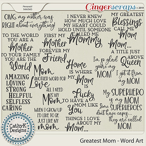 Greatest Mom - Word Art by CathyK Designs