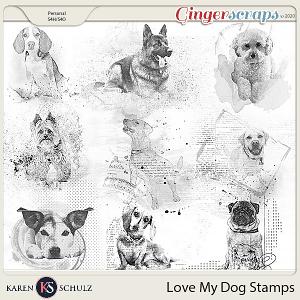 Love My Dog Stamps by Karen Schulz