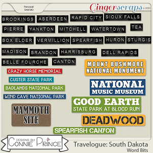 Travelogue South Dakota - Word Bits by Connie Prince