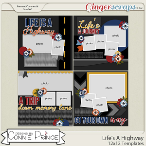 Life's A Highway - 12x12 Templates (CU Ok) by Connie Prince