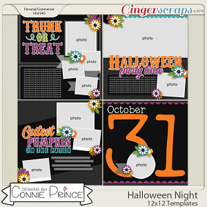 Halloween Night - 12x12 Templates (CU Ok) by Connie Prince