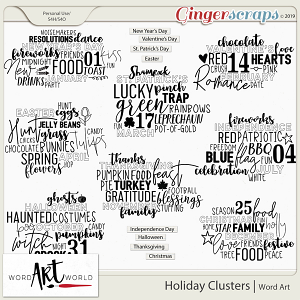 Holiday Clusters Word Art