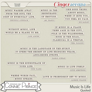 Music Is Life - Quoted by Connie Prince