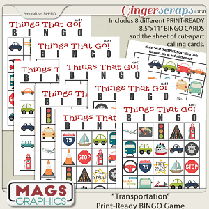 Transportation BINGO Game by MagsGraphics