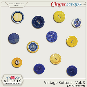 Vintage Buttons Vol. 3 - CU by Alexis Design Studio