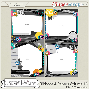 Ribbons & Papers Volume 15 - 12x12 Temps (CU Ok) by Connie Prince