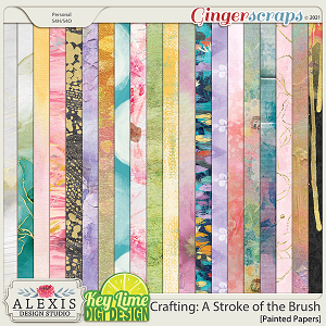 Crafting: A Stroke of the Brush Painted Papers by Alexis Design Studio and Key Lime Digi Design