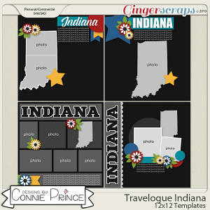 Travelogue Indiana - 12x12 Temps (CU Ok) by Connie Prince