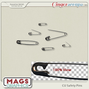 CU PNG Safety Pins Pack by MagsGraphics