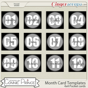 #2019 4x4 Month Card Templates by Connie Prince