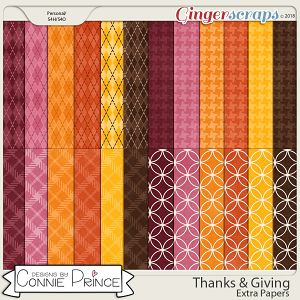 Thanks & Giving - Extra Papers by Connie Prince