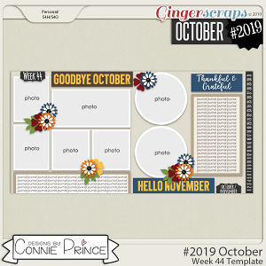 #2019 October - Week 44 Template Pack (CU Ok) by Connie Prince