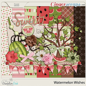 Watermelon Wishes Digital Scrapbook Kit by Dandelion Dust Designs
