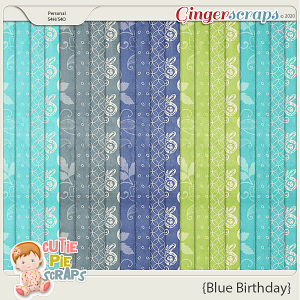Blue Birthday Pattern Papers