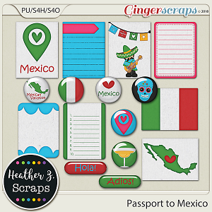 Passport to Mexico JOURNAL CARDS & FLAIRS by Heather Z Scraps