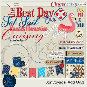 Bon Voyage Digital Scrapbooking Kit Add Ons by Miss Fish