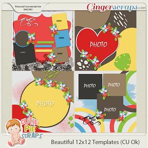 Beautiful- 12x12 Template Pack (CU Ok) by Cutie Pie Scraps