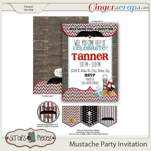 Mustache Birthday Invitation by Scraps N Pieces
