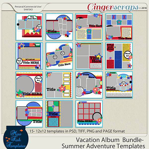 Vacation Album Bundle: Summer Adventure Templates by Miss Fish