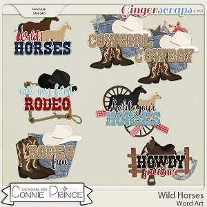 Wild Horses  - Word Art Pack by Connie Prince