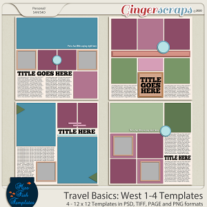 Travel Basics Album: West 1-4 Templates by Miss Fish