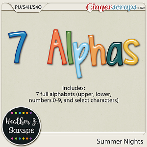 Summer Nights ALPHABETS by Heather Z Scraps