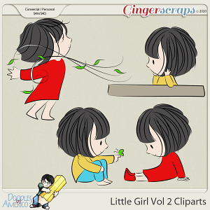 Doodles By Americo: Little Girl Vol 2 Cliparts