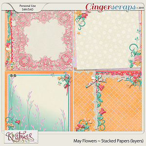 May Flowers Stacked Papers (Layers)