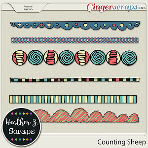 Counting Sheep BORDERS by Heather Z Scraps