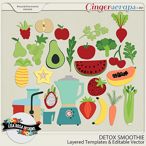 Detox Smoothie CU/PU Layered Templates by Lisa Rosa Designs