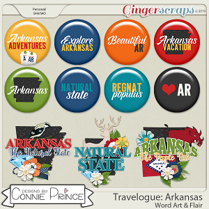 Travelogue Arkansas - Word Art & Flair Pack by Connie Prince