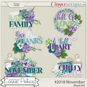 #2018 November - Word Art Pack by Connie Prince