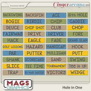 Hole In One Golf WORD TAGS by MagsGraphics
