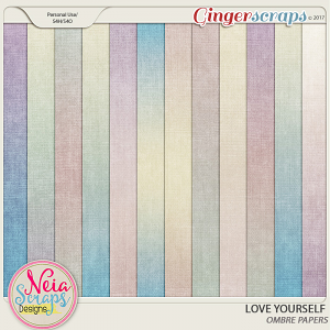Love Yourself- Ombre Papers - By Neia Scraps