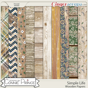 Simple Life - Wood Papers by Connie Prince