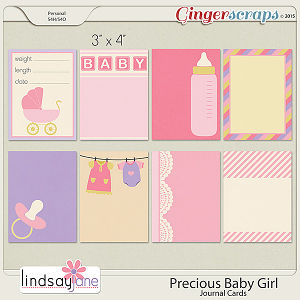 Precious Baby Girl Journal Cards by Lindsay Jane