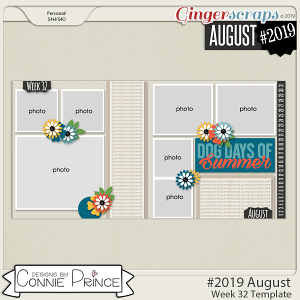 #2019 August - Week 32 Template Pack (CU Ok) by Connie Prince