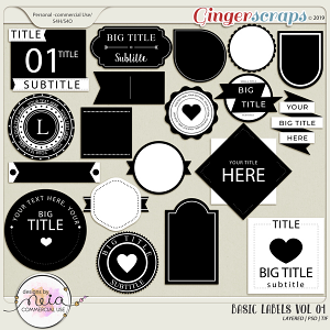 Basic Labels - VOL 01 - by Neia Scraps - CU