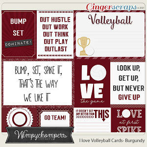 I Love Volleyball Cards- Burgundy